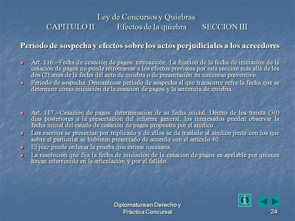 Diplomatura en Derecho y Práctica Concursal24 Período de sospecha y efectos sobre los actos perjudiciales a los acreedores Art.