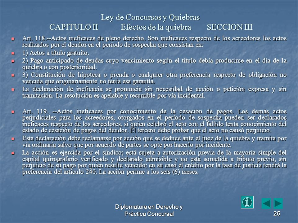 Diplomatura en Derecho y Práctica Concursal25 Art.