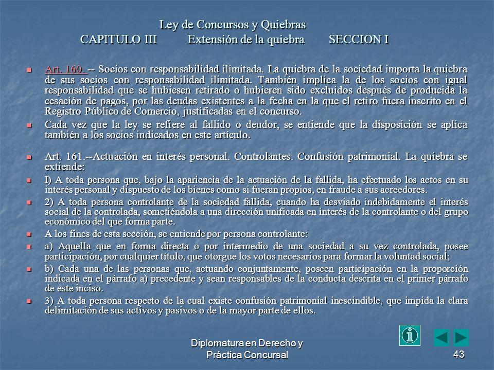 Diplomatura en Derecho y Práctica Concursal43 Art.