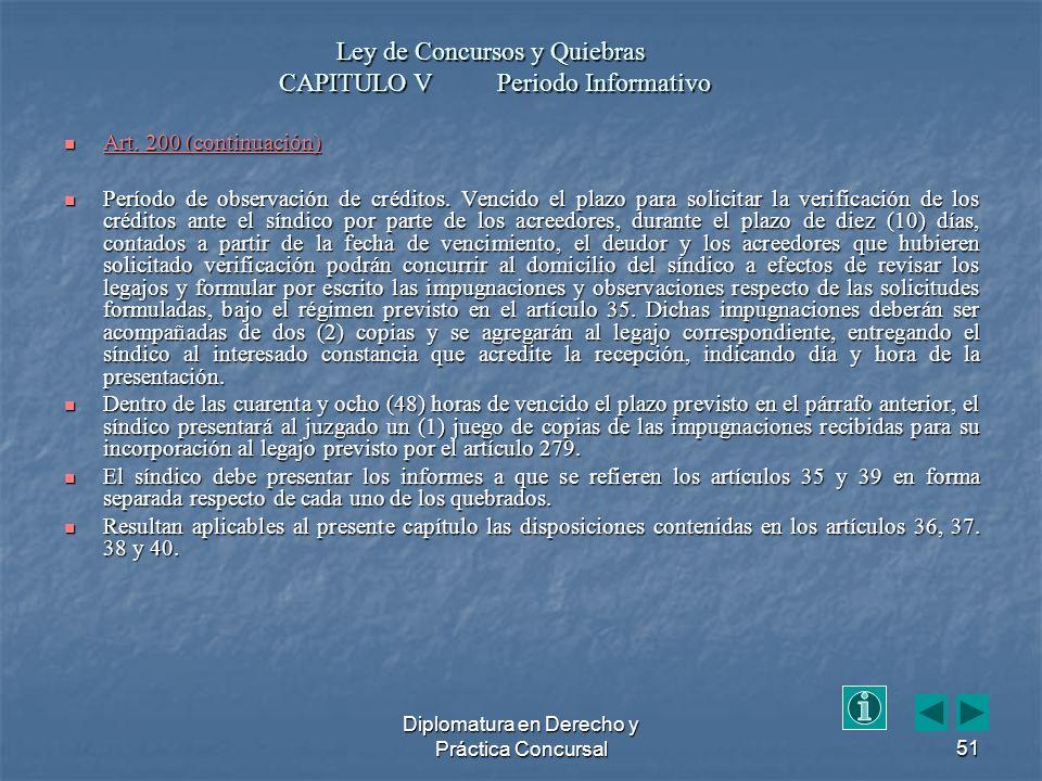 Diplomatura en Derecho y Práctica Concursal51 Art.
