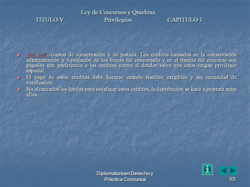 Diplomatura en Derecho y Práctica Concursal53 Art.