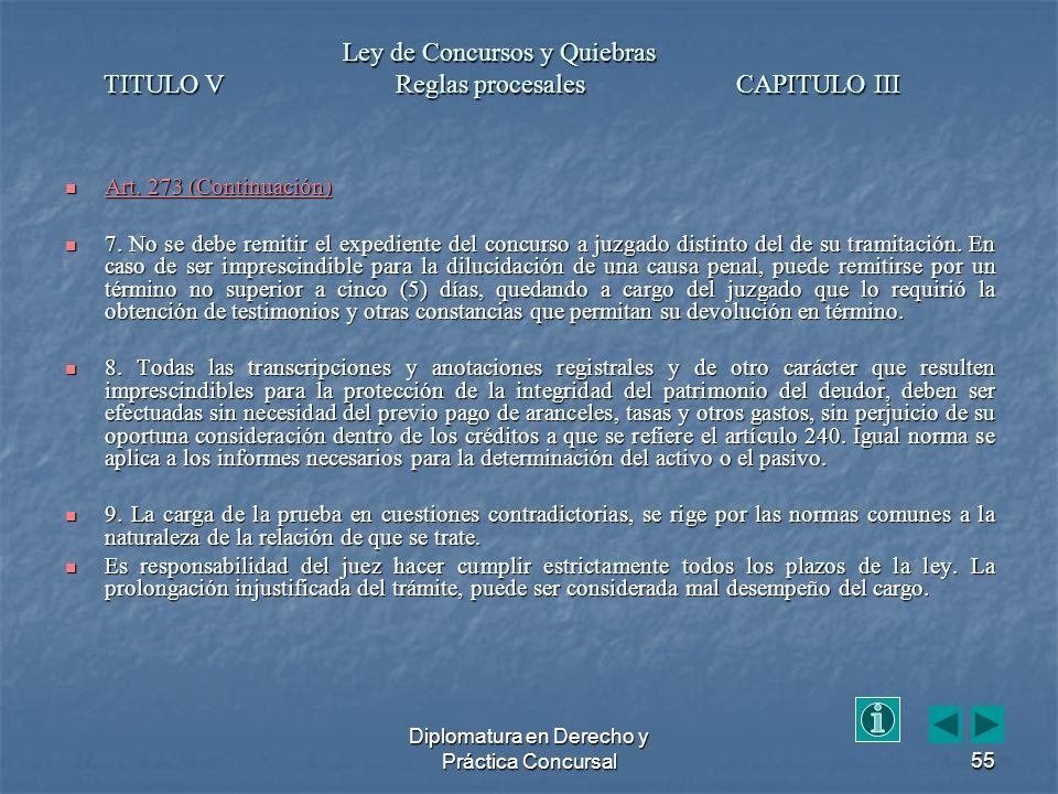 Diplomatura en Derecho y Práctica Concursal55 Art.