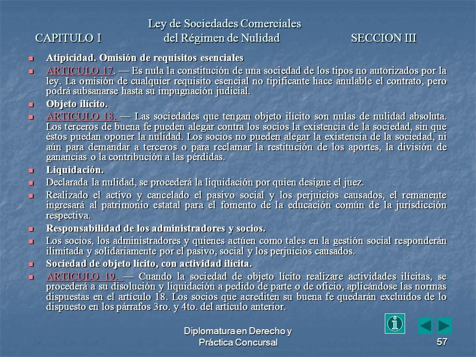 Diplomatura en Derecho y Práctica Concursal57 Atipicidad.