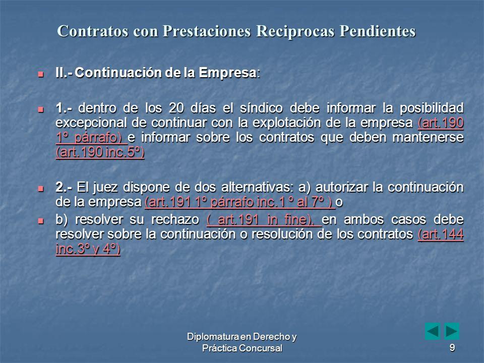 Diplomatura en Derecho y Práctica Concursal30 Art.