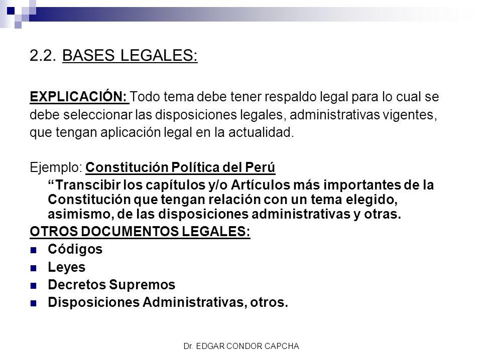 2.2. BASES LEGALES: EXPLICACIÓN: Todo tema debe tener respaldo legal para lo cual se debe seleccionar las disposiciones legales, administrativas vigen