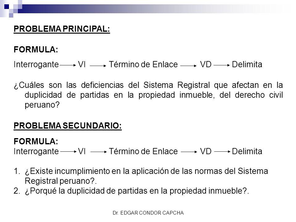 PROBLEMA PRINCIPAL: FORMULA: Interrogante VI Término de Enlace VD Delimita ¿Cuáles son las deficiencias del Sistema Registral que afectan en la duplic