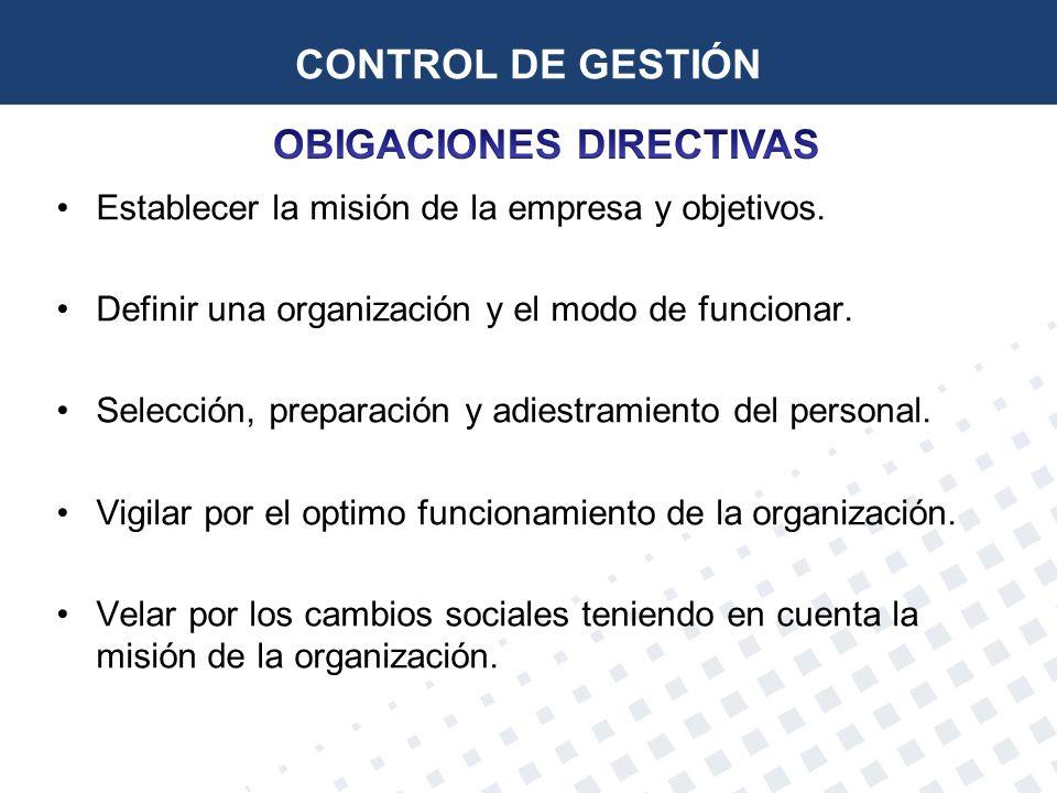 CONTROL DE GESTIÓN Establecer la misión de la empresa y objetivos. Definir una organización y el modo de funcionar. Selección, preparación y adiestram