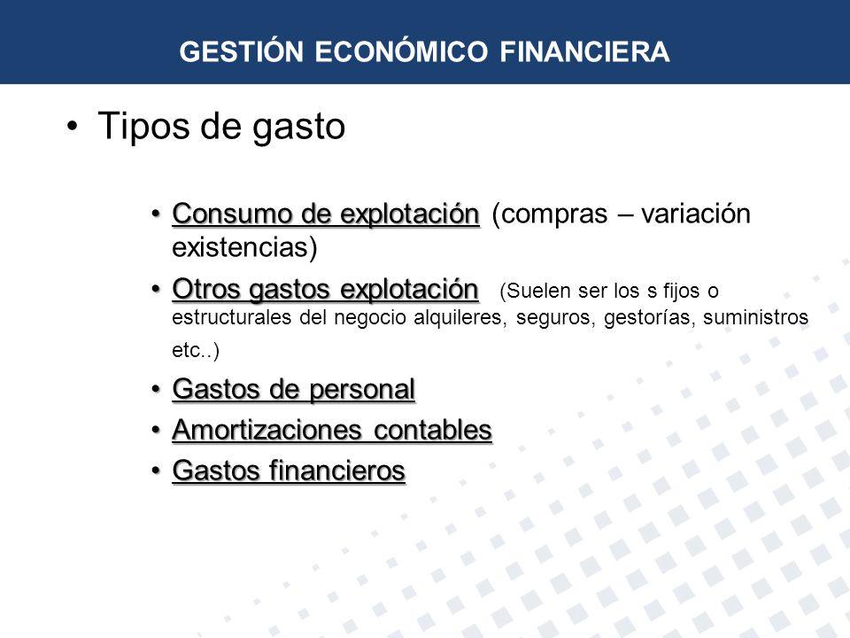 Tipos de gasto Consumo de explotaciónConsumo de explotación (compras – variación existencias) Otros gastos explotaciónOtros gastos explotación (Suelen