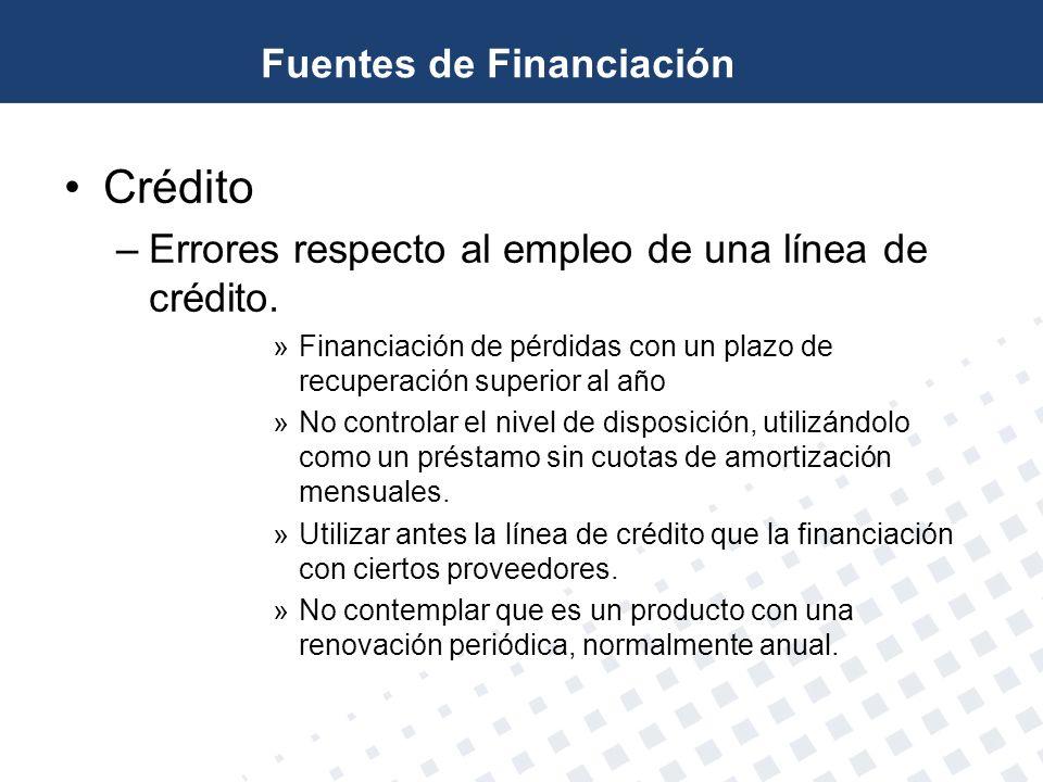 Crédito –Errores respecto al empleo de una línea de crédito. »Financiación de pérdidas con un plazo de recuperación superior al año »No controlar el n