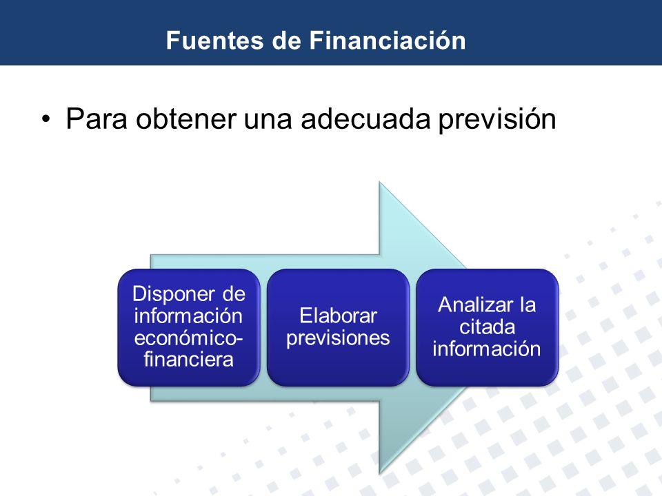 Para obtener una adecuada previsión Disponer de información económico- financiera Elaborar previsiones Analizar la citada información Fuentes de Finan