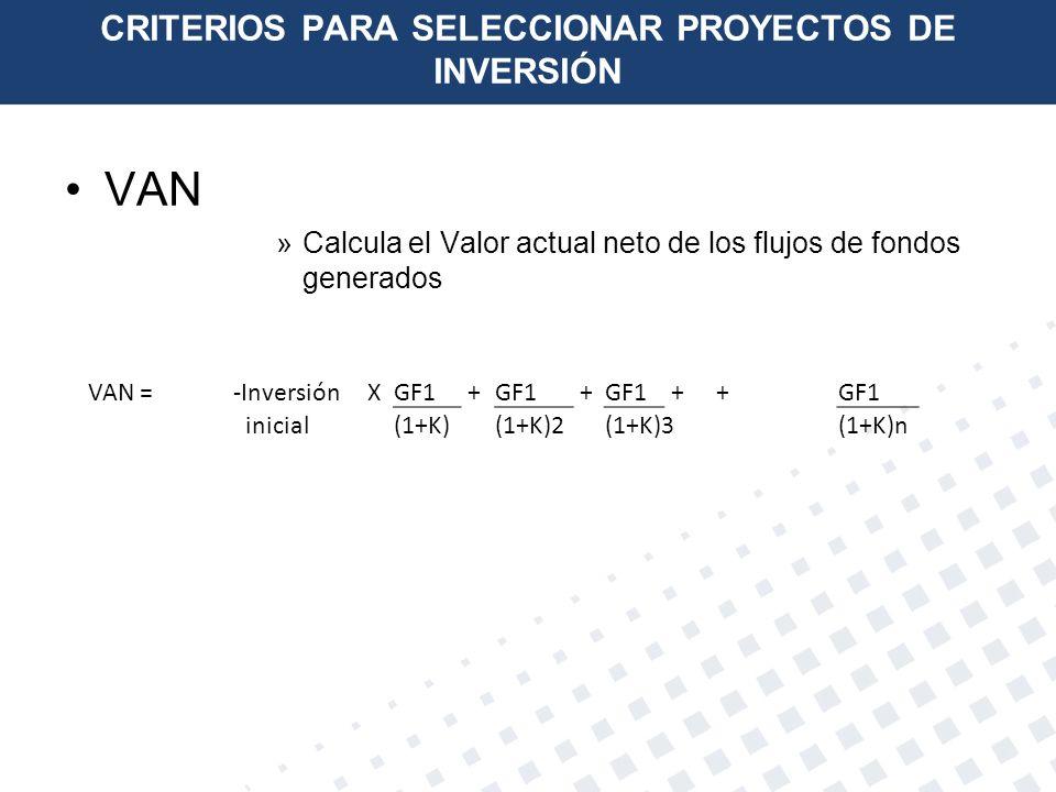 CRITERIOS PARA SELECCIONAR PROYECTOS DE INVERSIÓN VAN »Calcula el Valor actual neto de los flujos de fondos generados VAN = -InversiónXGF1 + + + + ini