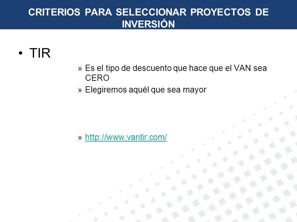 TIR »Es el tipo de descuento que hace que el VAN sea CERO »Elegiremos aquél que sea mayor »http://www.vantir.com/http://www.vantir.com/ CRITERIOS PARA