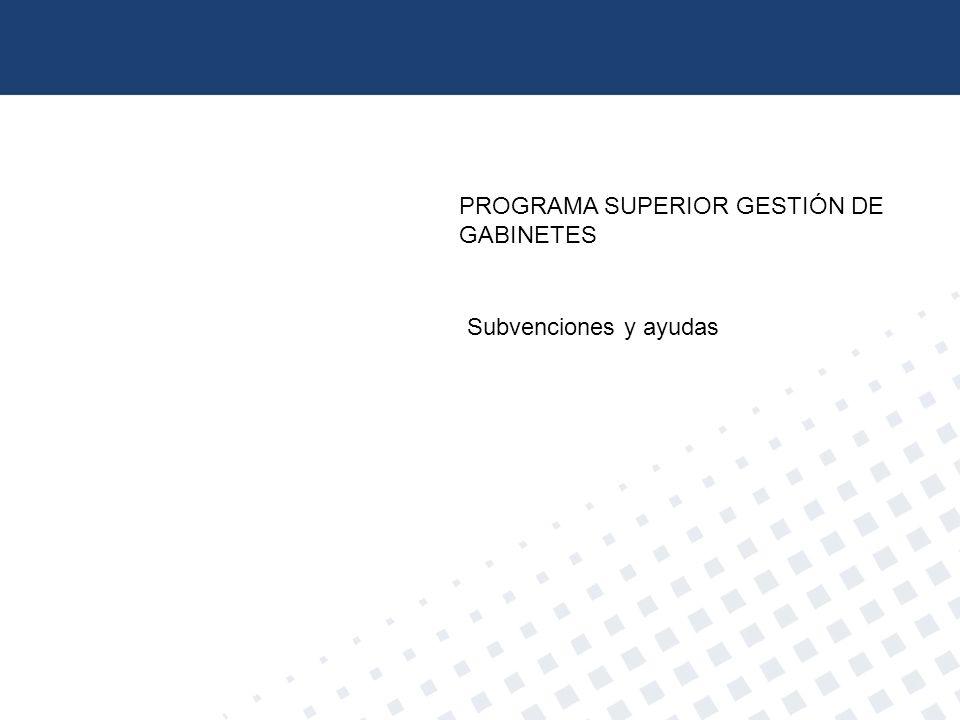 PROGRAMA SUPERIOR GESTIÓN DE GABINETES Subvenciones y ayudas