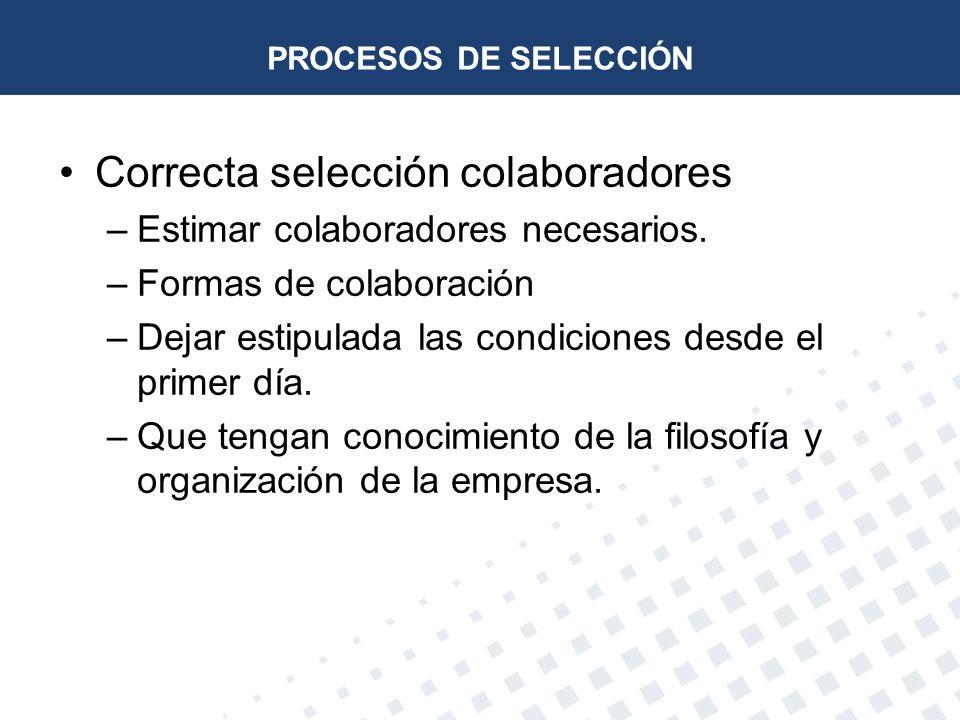 PROCESOS DE SELECCIÓN Correcta selección colaboradores –Estimar colaboradores necesarios. –Formas de colaboración –Dejar estipulada las condiciones de