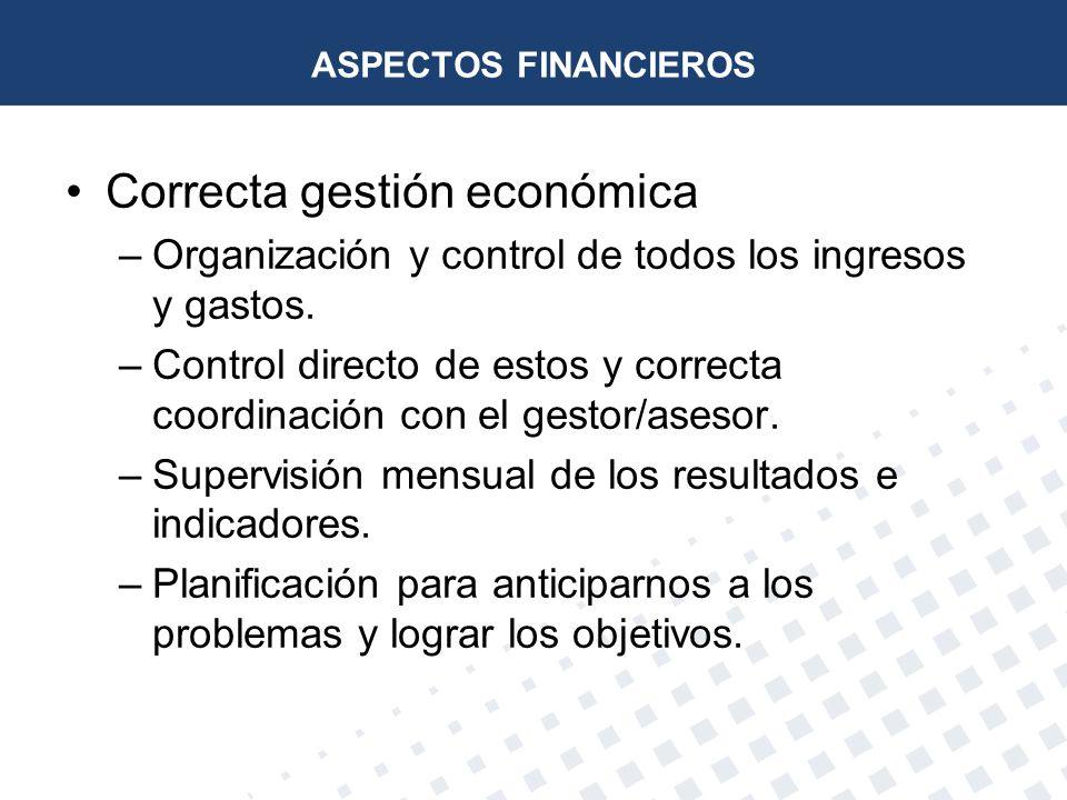 ASPECTOS FINANCIEROS Correcta gestión económica –Organización y control de todos los ingresos y gastos. –Control directo de estos y correcta coordinac