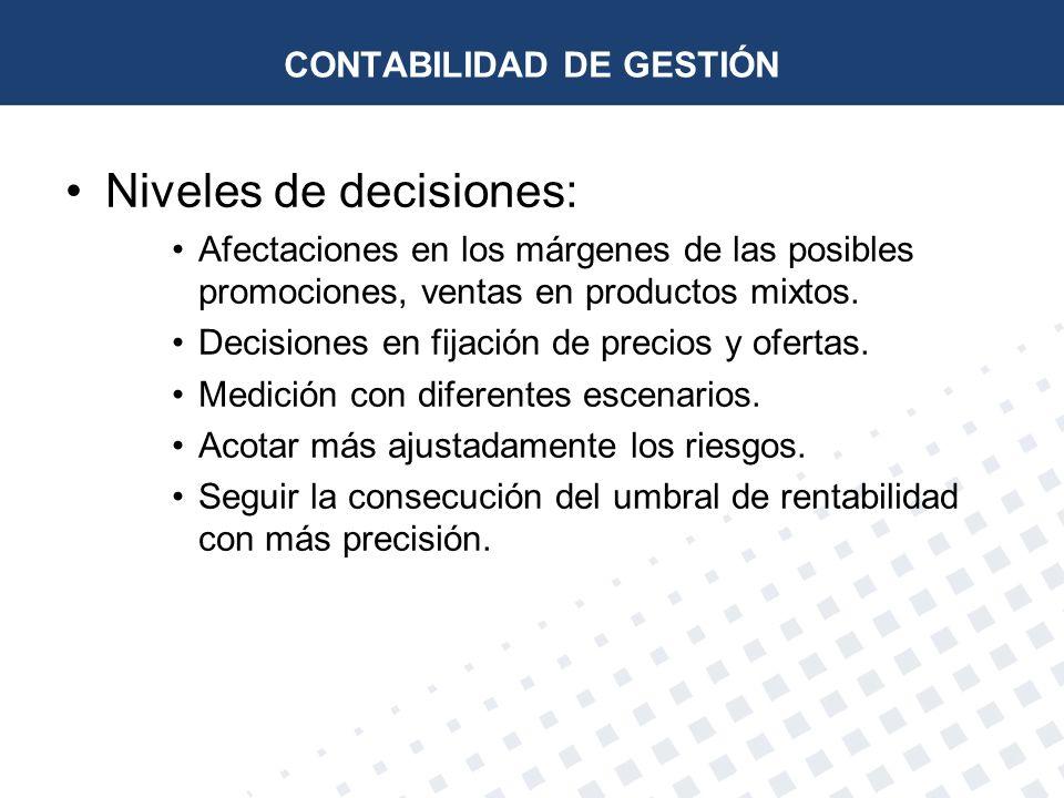 Niveles de decisiones: Afectaciones en los márgenes de las posibles promociones, ventas en productos mixtos. Decisiones en fijación de precios y ofert