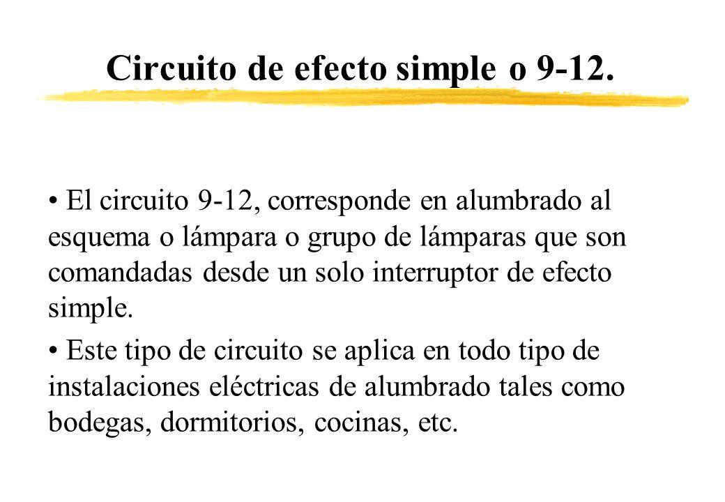 Circuito de efecto simple o 9-12. El circuito 9-12, corresponde en alumbrado al esquema o lámpara o grupo de lámparas que son comandadas desde un solo