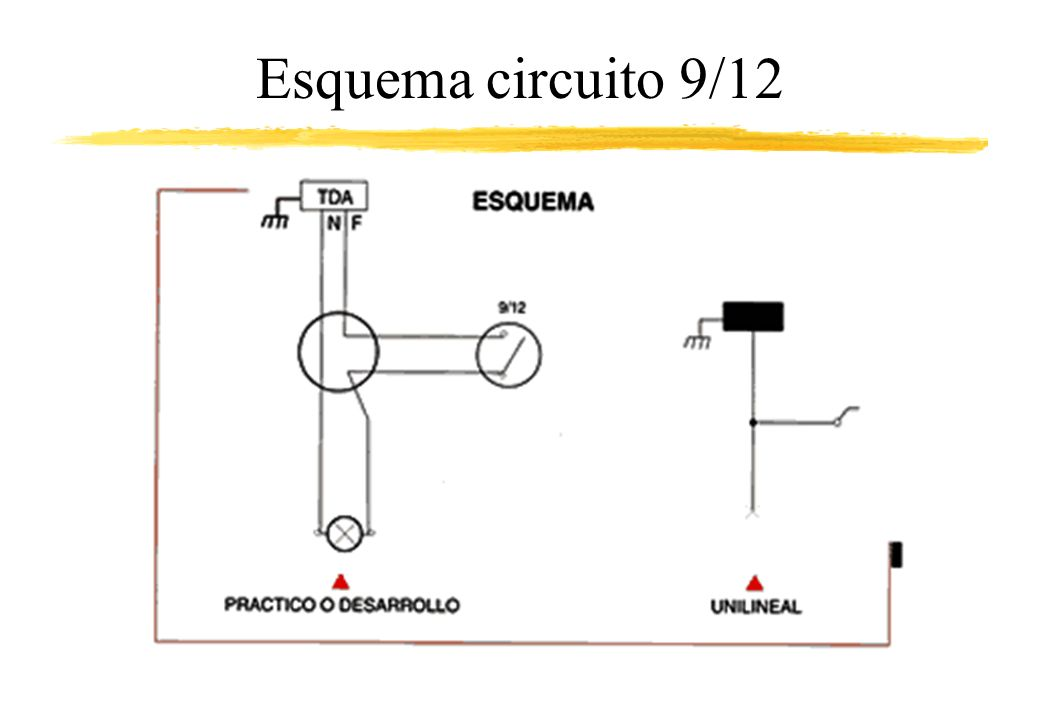 Circuito de doble efecto o 9-15 Este circuito corresponde al esquema de dos lámparas o dos grupos de lámparas que se comandan independientemente desde un solo punto o placa.