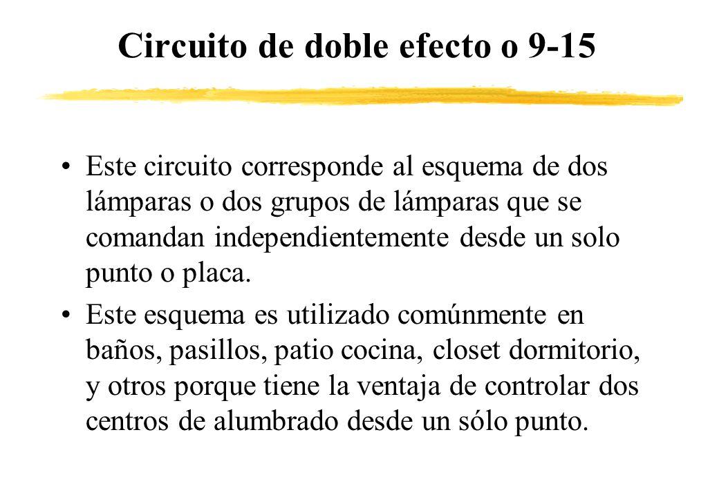 Circuito de doble efecto o 9-15 Este circuito corresponde al esquema de dos lámparas o dos grupos de lámparas que se comandan independientemente desde