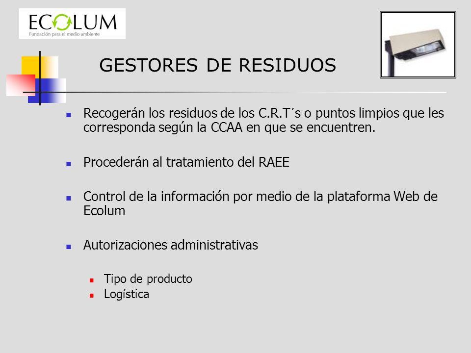 GESTORES DE RESIDUOS Recogerán los residuos de los C.R.T´s o puntos limpios que les corresponda según la CCAA en que se encuentren. Procederán al trat