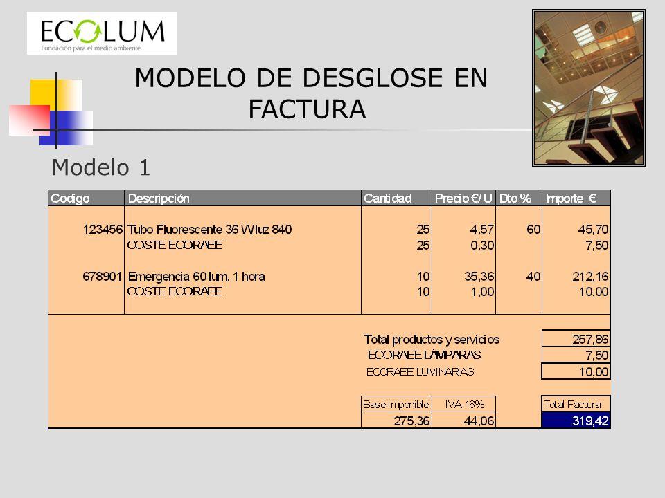 MODELO DE DESGLOSE EN FACTURA Modelo 1