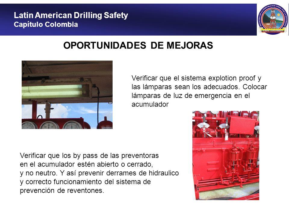Latin American Drilling Safety Capítulo Colombia OPORTUNIDADES DE MEJORAS Verificar que el sistema explotion proof y las lámparas sean los adecuados.