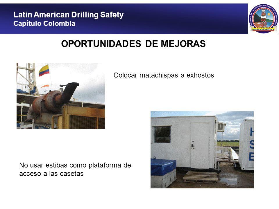 Latin American Drilling Safety Capítulo Colombia OPORTUNIDADES DE MEJORAS Colocar matachispas a exhostos No usar estibas como plataforma de acceso a l