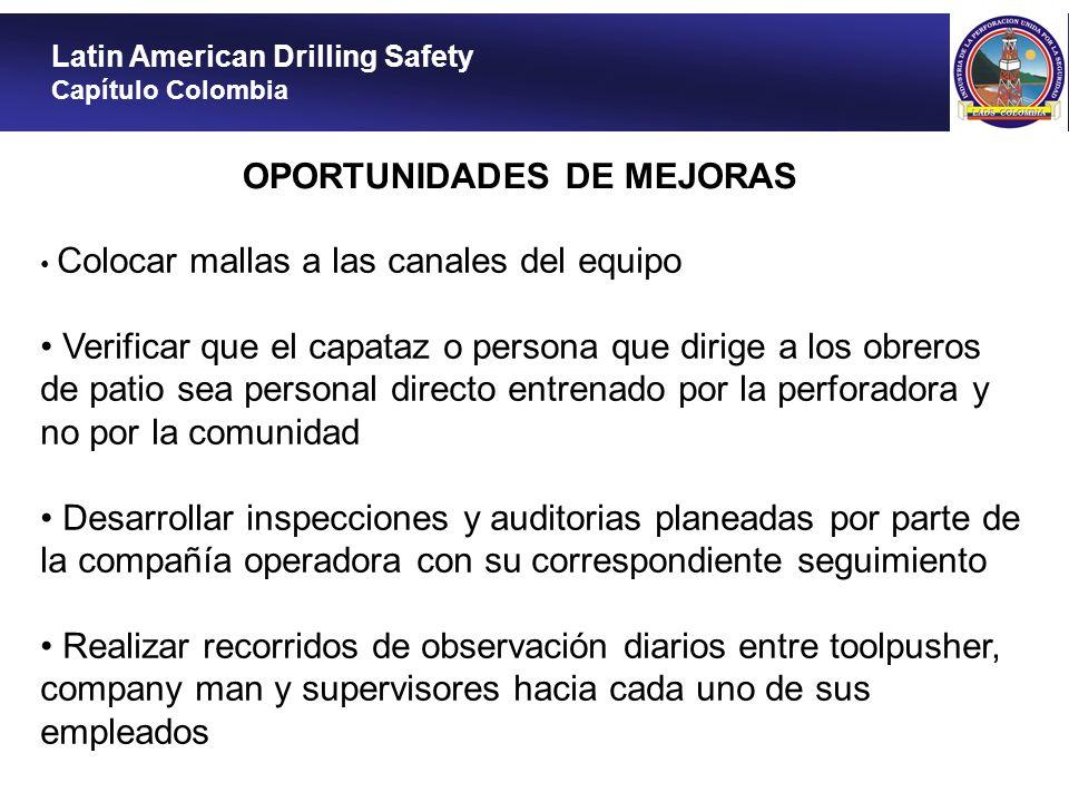 Latin American Drilling Safety Capítulo Colombia OPORTUNIDADES DE MEJORAS Colocar mallas a las canales del equipo Verificar que el capataz o persona q