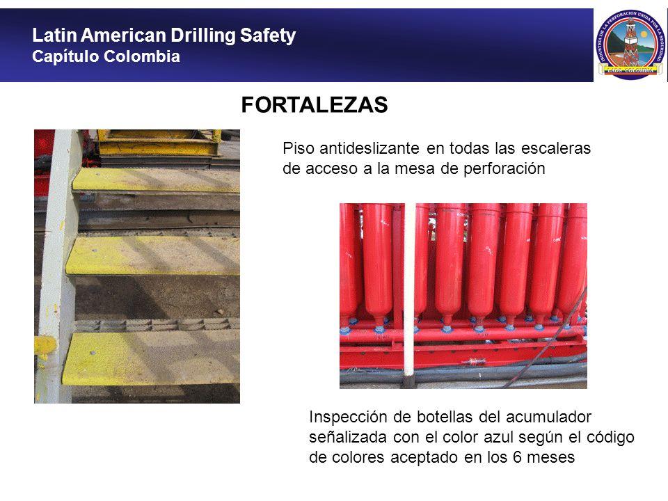 Latin American Drilling Safety Capítulo Colombia FORTALEZAS Bomba neumática disponible para verter la química en los tanques de lodo Construcción de barrera antirruido para los generadores
