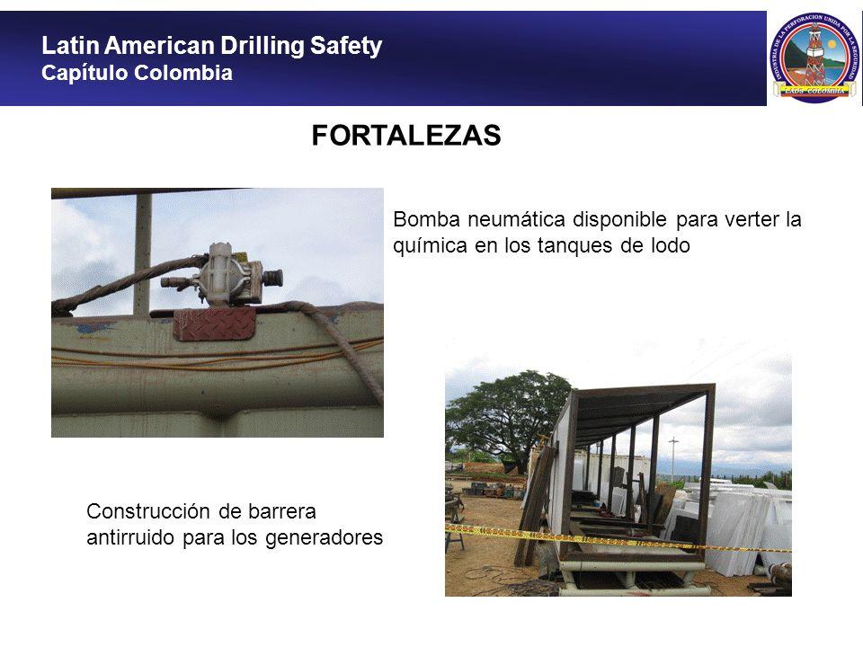 Latin American Drilling Safety Capítulo Colombia FORTALEZAS Bomba neumática disponible para verter la química en los tanques de lodo Construcción de b