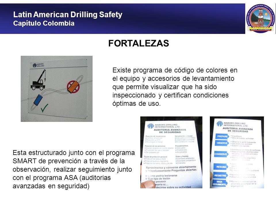 Latin American Drilling Safety Capítulo Colombia FORTALEZAS Existe programa de código de colores en el equipo y accesorios de levantamiento que permit
