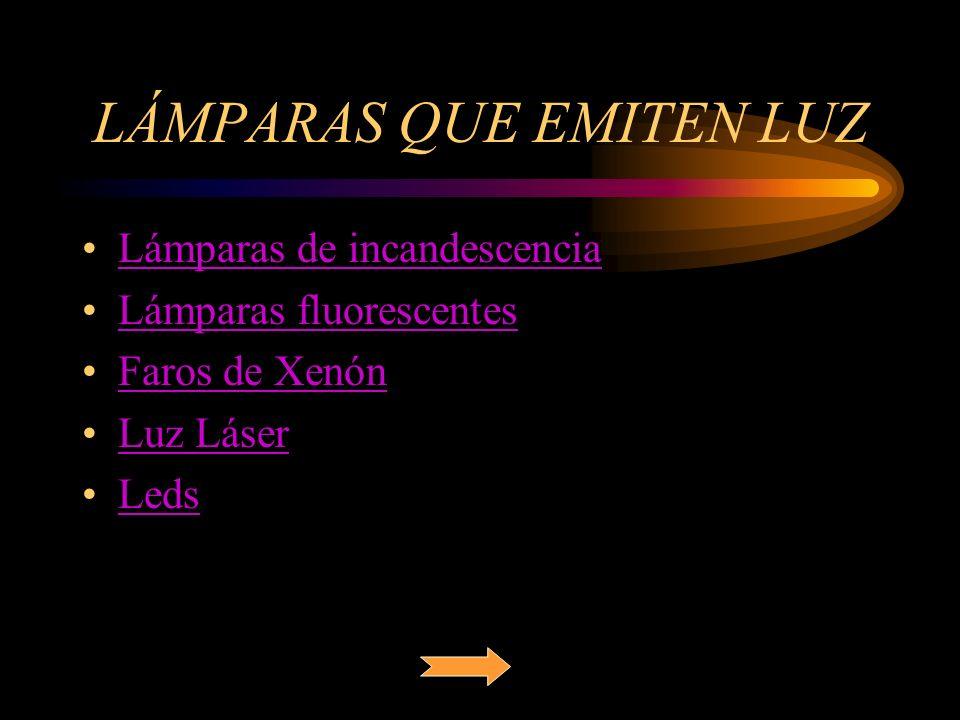LÁMPARAS QUE EMITEN LUZ Lámparas de incandescencia Lámparas fluorescentes Faros de Xenón Luz Láser Leds