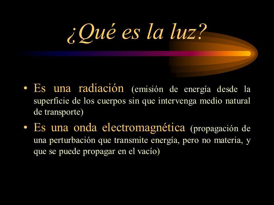¿Qué es la luz? Es una radiación (emisión de energía desde la superficie de los cuerpos sin que intervenga medio natural de transporte) Es una onda el