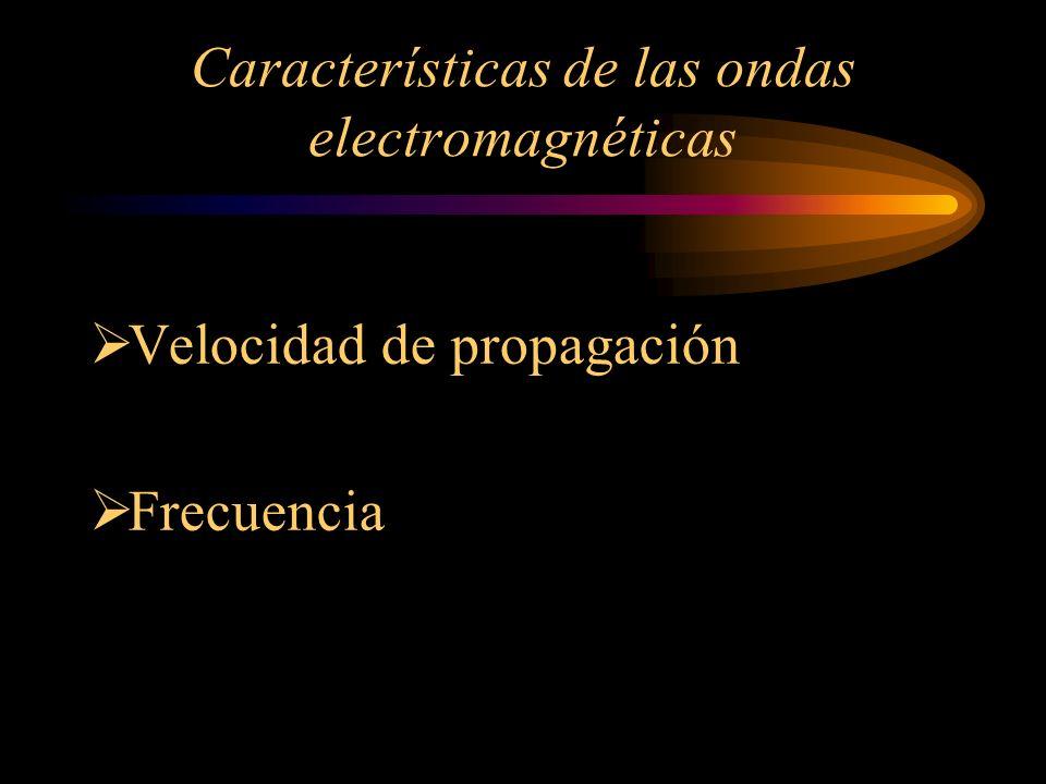 Características de las ondas electromagnéticas Velocidad de propagación Frecuencia