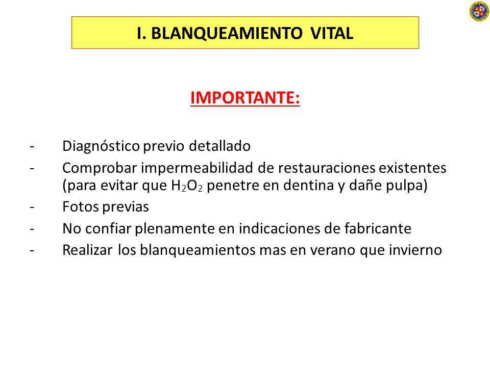I. BLANQUEAMIENTO VITAL IMPORTANTE: -Diagnóstico previo detallado -Comprobar impermeabilidad de restauraciones existentes (para evitar que H 2 O 2 pen