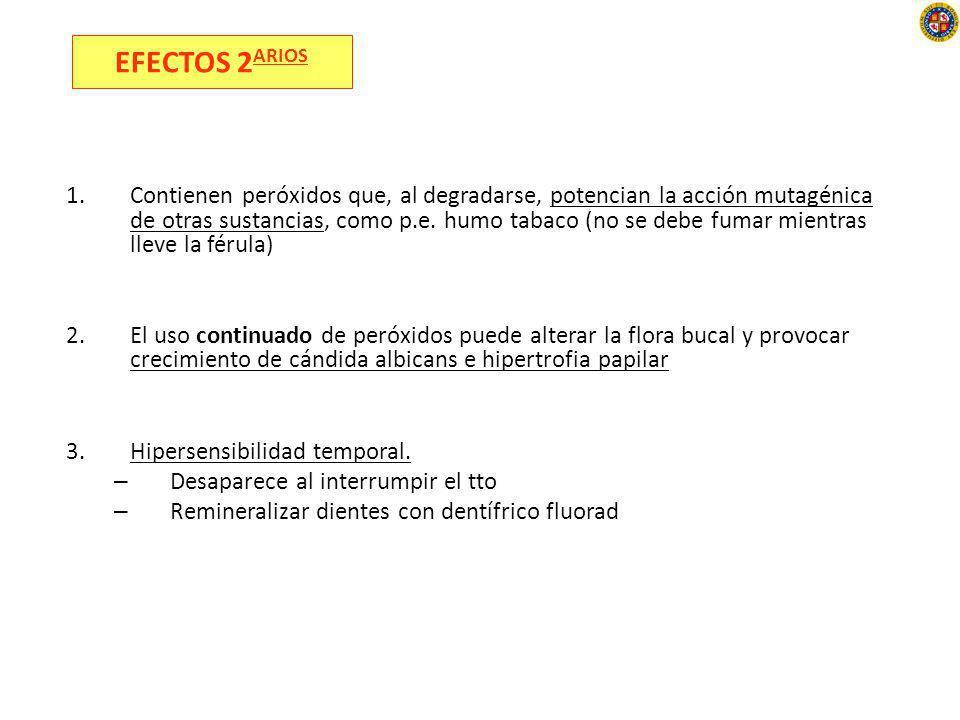 4.Irritación gingival. Más bien debido a la adaptación de la cubeta 5.