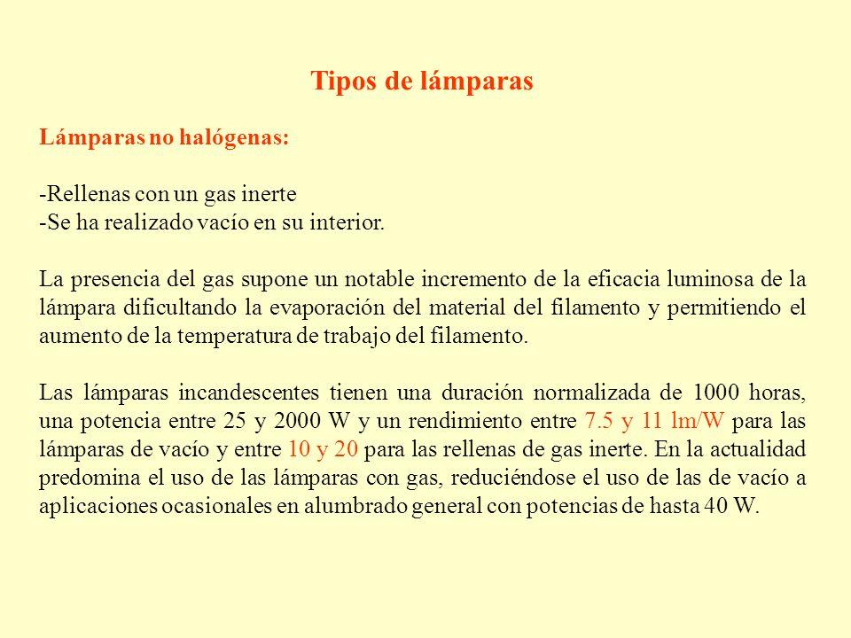 Tipos de lámparas Lámparas no halógenas: -Rellenas con un gas inerte -Se ha realizado vacío en su interior. La presencia del gas supone un notable inc