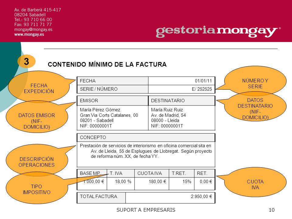 SUPORT A EMPRESARIS10 3 CONTENIDO MÍNIMO DE LA FACTURA FECHA01/01/11 SERIE / NÚMEROE/ 252525 CONCEPTO Prestación de servicios de interiorismo en oficina comercial sita en Av.