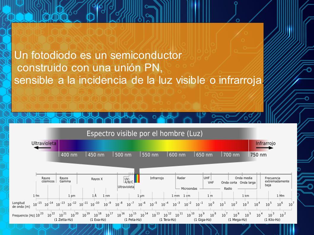 Un fotodiodo es un semiconductor construido con una unión PN, sensible a la incidencia de la luz visible o infrarroja.