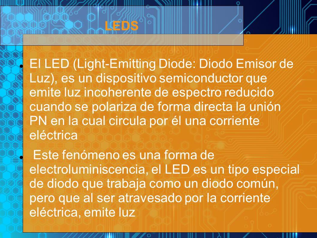 El LED (Light-Emitting Diode: Diodo Emisor de Luz), es un dispositivo semiconductor que emite luz incoherente de espectro reducido cuando se polariza