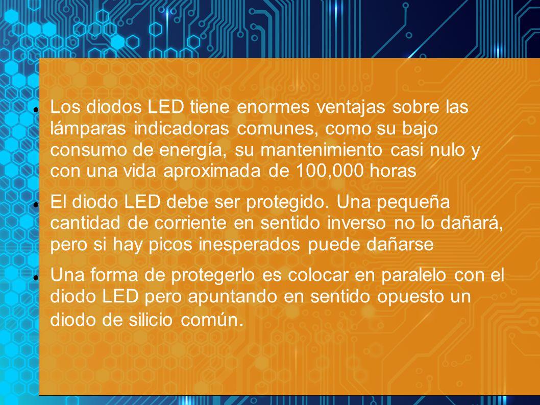Los diodos LED tiene enormes ventajas sobre las lámparas indicadoras comunes, como su bajo consumo de energía, su mantenimiento casi nulo y con una vi