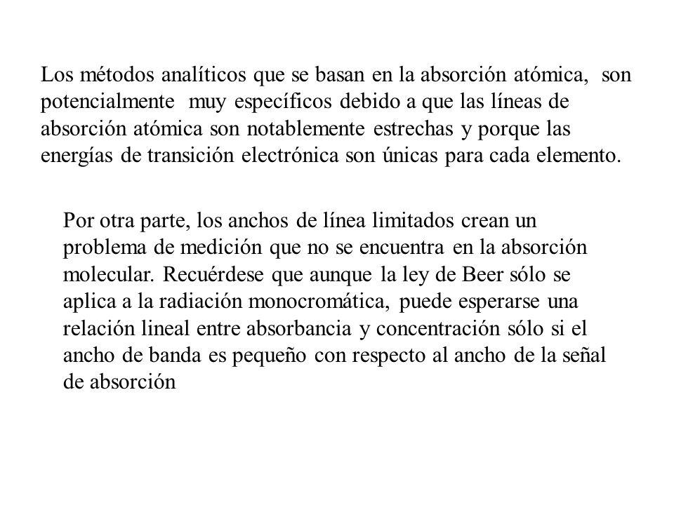 Los métodos analíticos que se basan en la absorción atómica, son potencialmente muy específicos debido a que las líneas de absorción atómica son notab