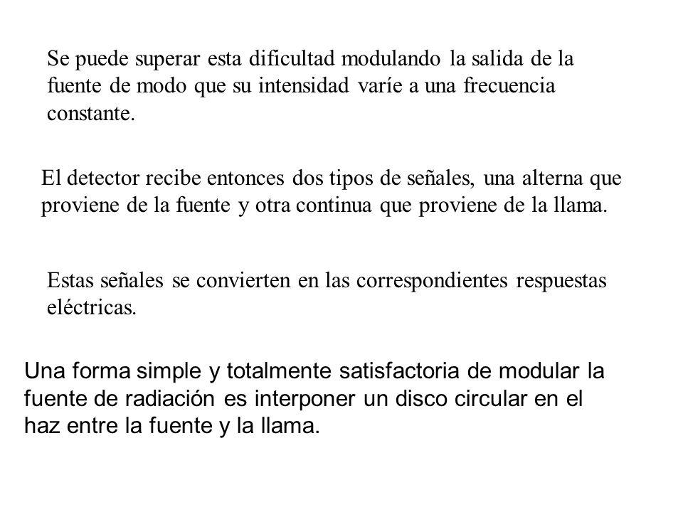 Se puede superar esta dificultad modulando la salida de la fuente de modo que su intensidad varíe a una frecuencia constante. El detector recibe enton