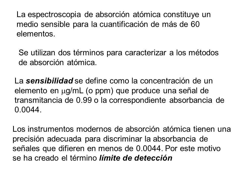 La espectroscopia de absorción atómica constituye un medio sensible para la cuantificación de más de 60 elementos. Se utilizan dos términos para carac
