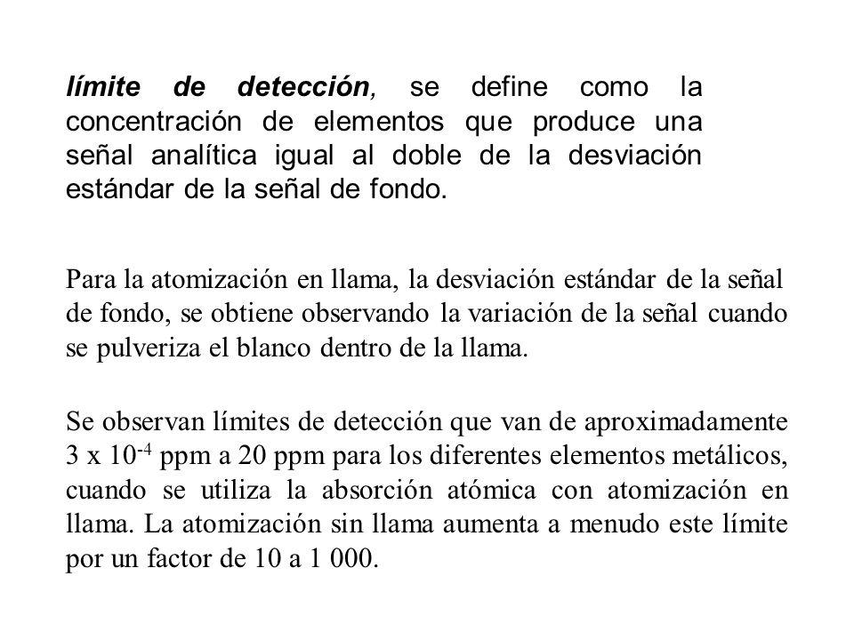 límite de detección, se define como la concentración de elementos que produce una señal analítica igual al doble de la desviación estándar de la señal de fondo.