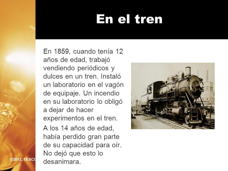 En 1859, cuando tenía 12 años de edad, trabajó vendiendo periódicos y dulces en un tren. Instaló un laboratorio en el vagón de equipaje. Un incendio e