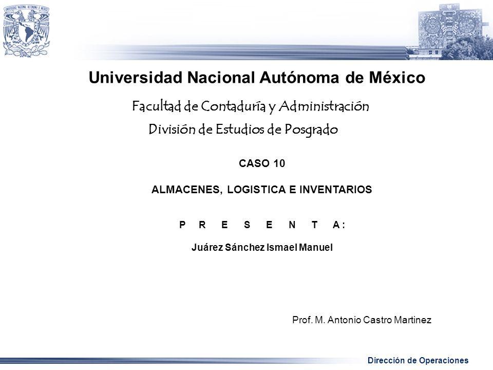 Dirección de Operaciones Universidad Nacional Autónoma de México CASO 10 ALMACENES, LOGISTICA E INVENTARIOS P R E S E N T A : Juárez Sánchez Ismael Manuel Prof.
