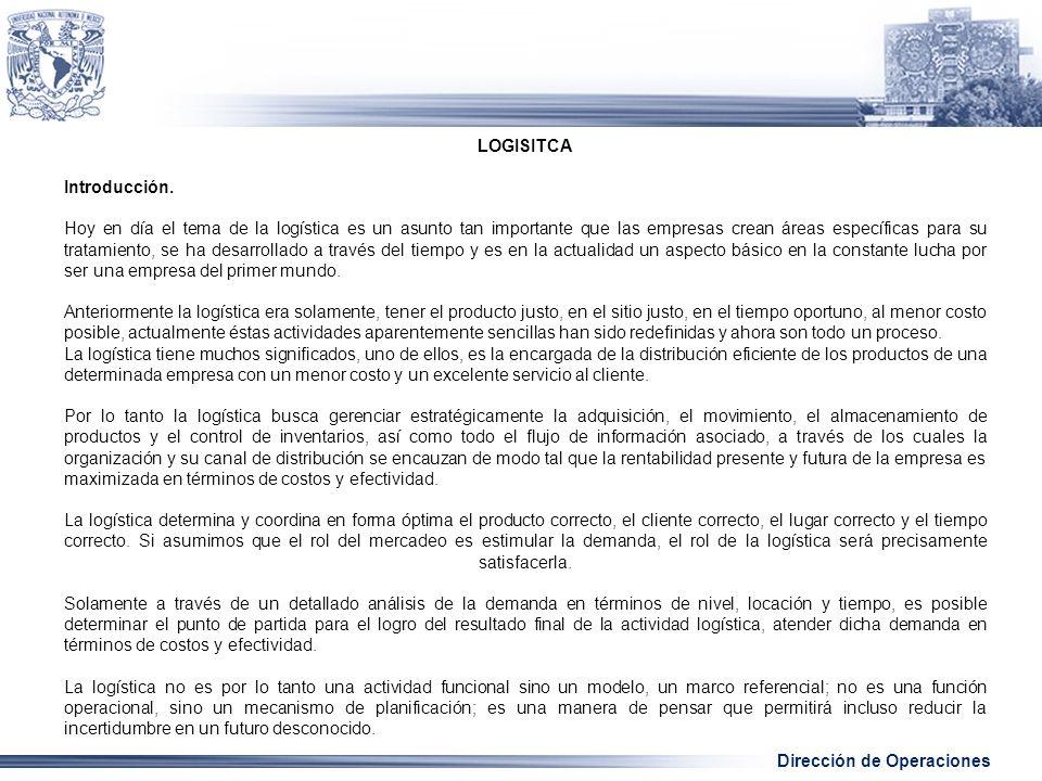 Dirección de Operaciones LOGISITCA Introducción.