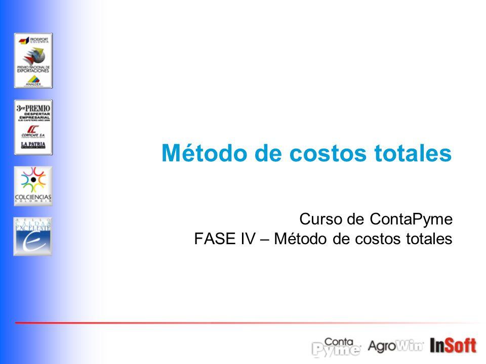 Método de costos totales Curso de ContaPyme FASE IV – Método de costos totales