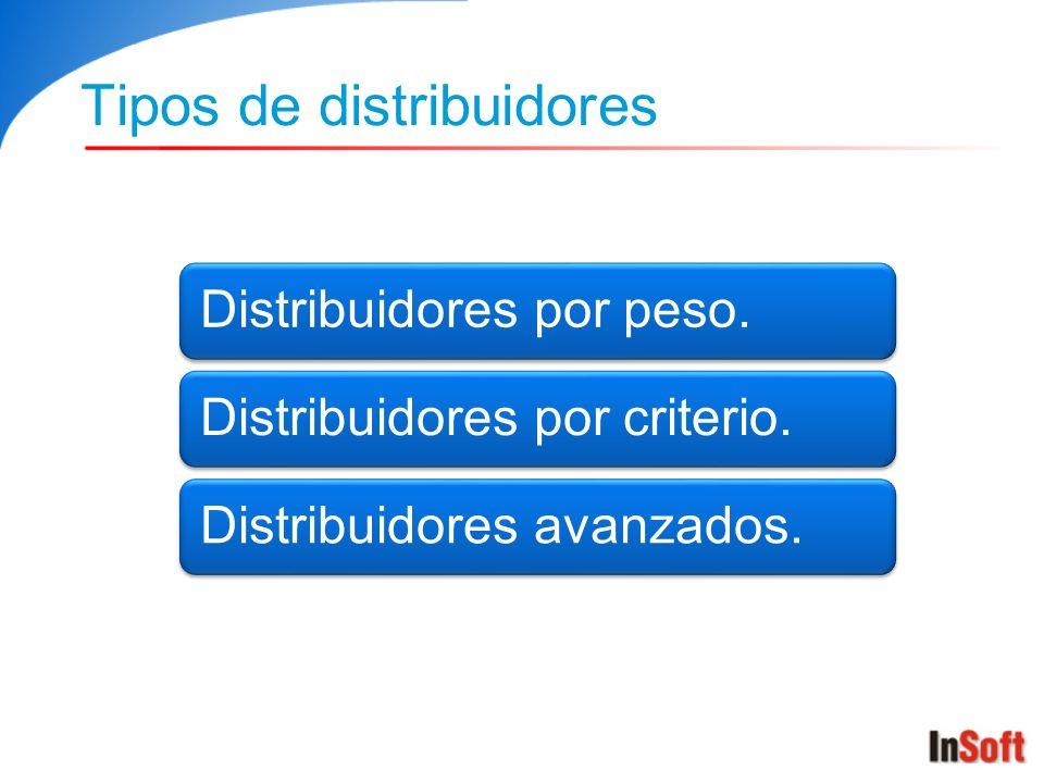 Tipos de distribuidores Distribuidores por peso.Distribuidores por criterio.Distribuidores avanzados.